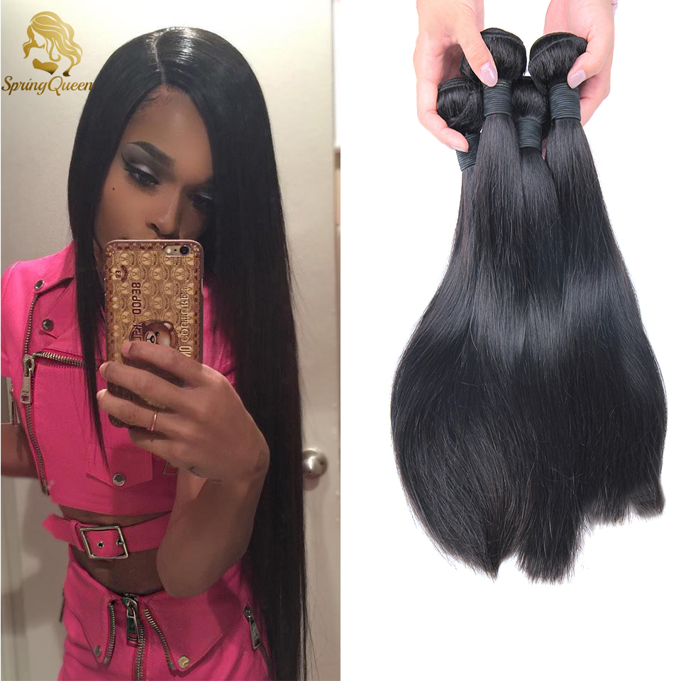 Здесь можно купить  Spring Hair Hot Selling 6A Brazilian Virgin Human Hair Weave Unprocessed Straight,4 bundles/400g,Natural Black,Free Shipping  Волосы и аксессуары