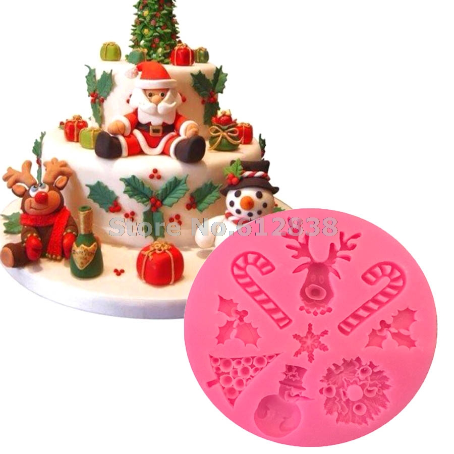 M158 Fondant Cake Decorating Tools Christmas Silicone Mold for Soap Chocolate Clay Resin Cake(China (Mainland))