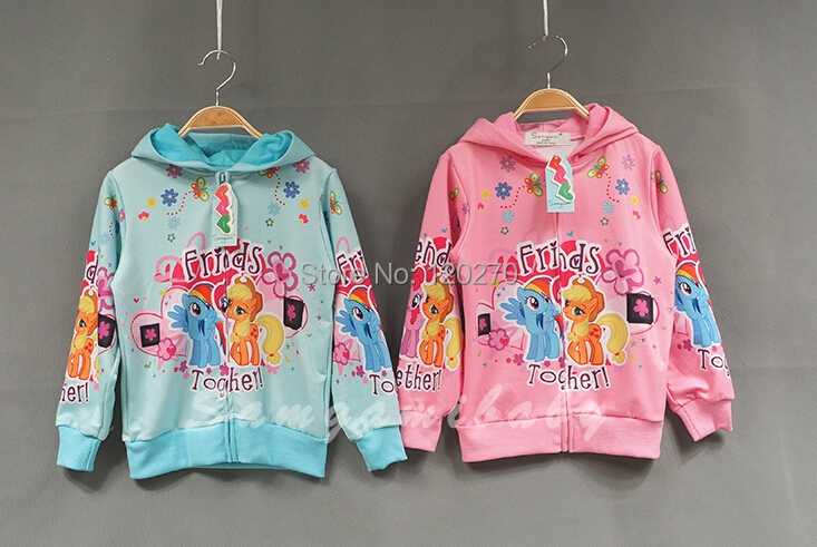 Apring Autumn Baby Girls Cotton My LittlePony Friends Hooded Coat Kids Hoodies Children Jacket Overcoat Upper Outer Wear Garment(China (Mainland))