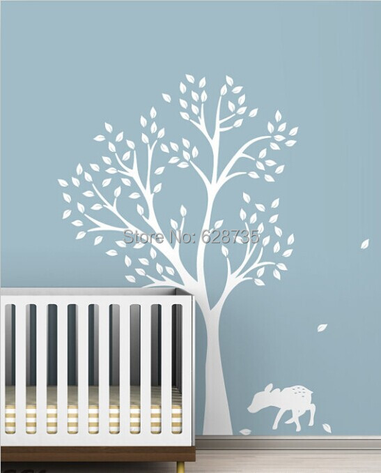 High quality 198 x141cm Extra Large White Tree Decal for Nursery room , vinyl tree wall stickers for baby rooms decor ,T3025(China (Mainland))