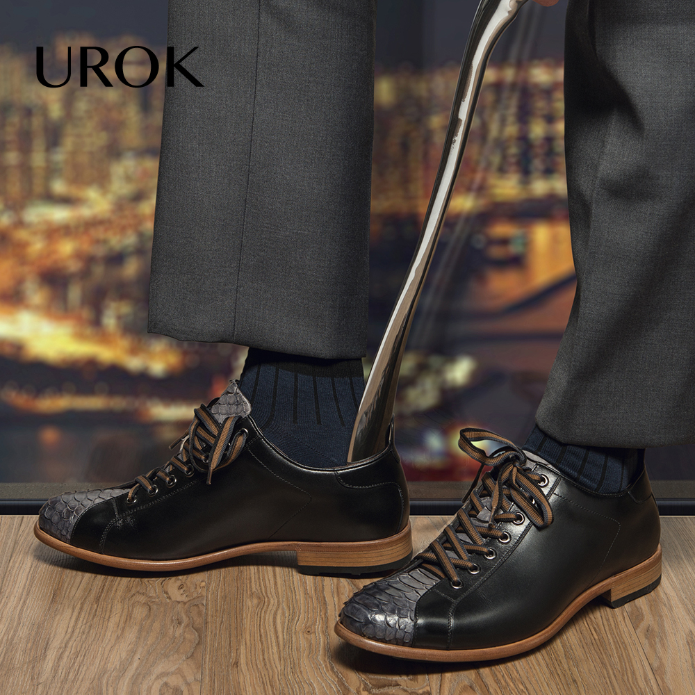 UROK 2016 Custom Made Men Snake Skin Shoes Hand Sewing Plain Round Toe Flats Genuine Leather Lace Up D'orsay Men Casual Shoes(China (Mainland))