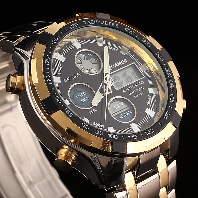 Гаджет  Luxury Analog Digital Watches Men Led Full Steel Gold Male Clock Men Military Wristwatch Quartz Sports Watch Relogio Masculino None Часы