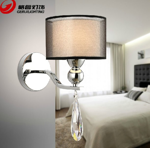 Modern Brief Crystal Fabric Shade Wall Lamp E27 Light Source Living RoomBedding RoomBalcony Light Free Shipping<br><br>Aliexpress