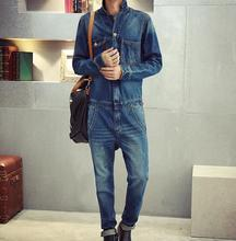 Long Sleeve Denim Jumpsuit Men 2016 New Fashion Garment Washed Retro Style Jean Jumpsuits Free Shipping