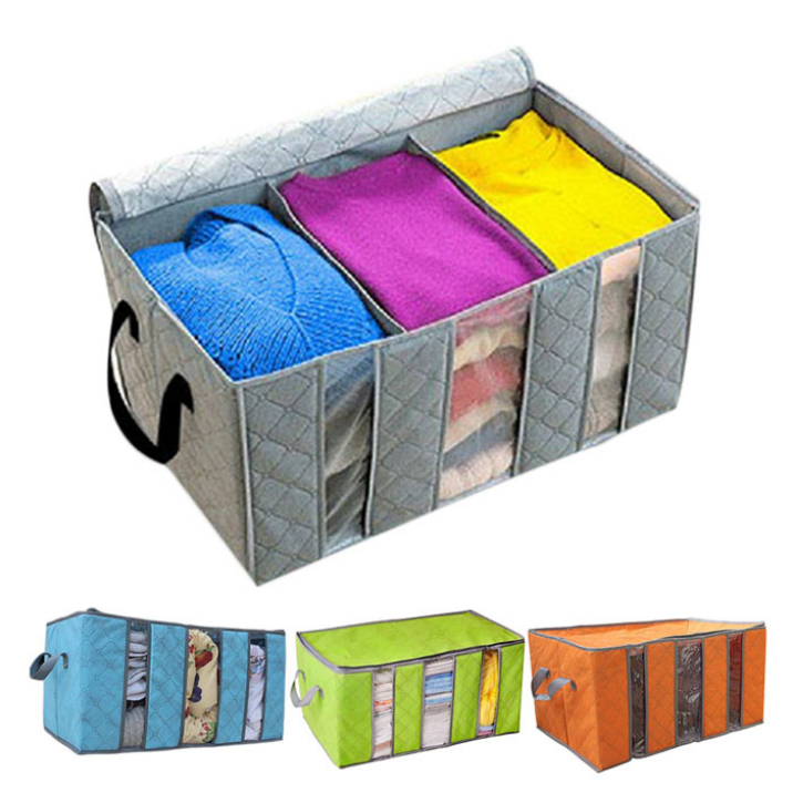 Best Deal 65L Foldable Bamboo Charcoal Fibre Home Closet Storage Bag Organizer Box Anti-bacterial Clothes Finishing Bag 1pcs(China (Mainland))