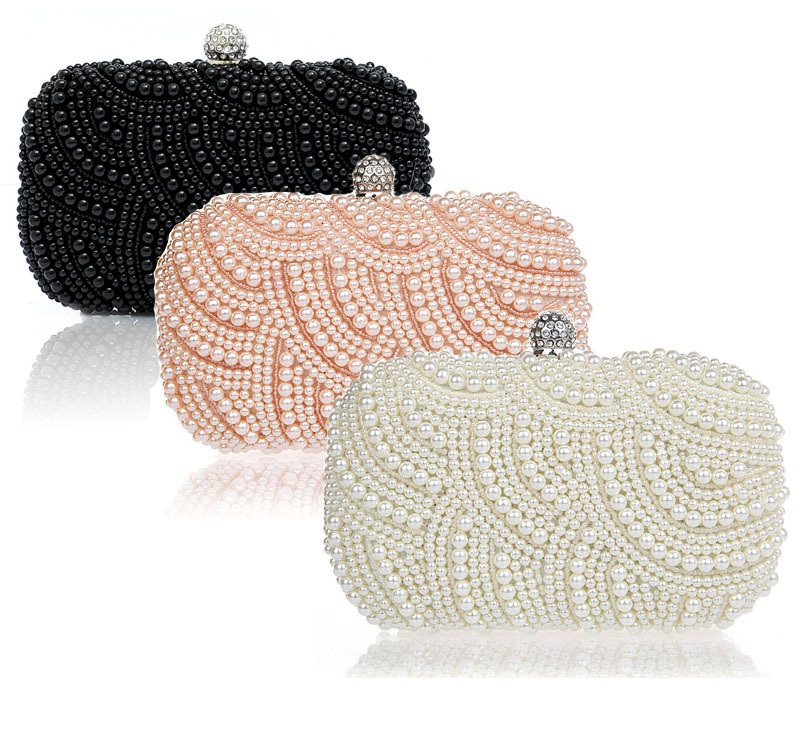 2 Sides Synthetic Pearls Women Shoulder Bags Vintage Evening Beaded Pearl Bridal Party Clutches Bride Clutch Handbags - Formen Garment Group store