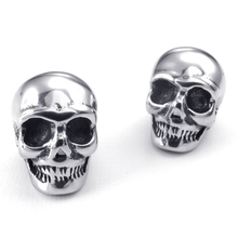 V24434 New Fashion Men's 316L Stainless Steel Earrings Vintage Skull Stud Earrings Wholesale Retail(China (Mainland))