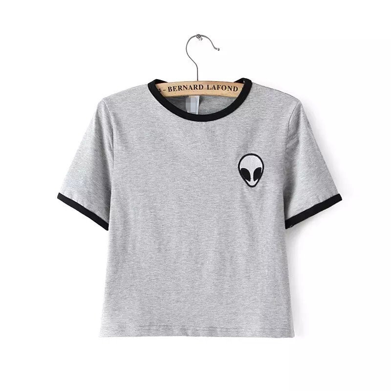 Embroidery Design Aliens T Shirts Women Short Sleeve Tee Shirt Cotton Comfortable Female Students T-shirts Teenagers(China (Mainland))