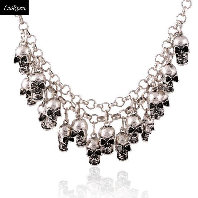 Moda multi capa cadenas colgantes cráneos Vintage collares joyería punky para mujeres, oro y plata