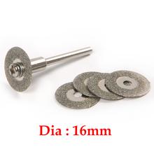 5PCS 16mm Diamond Jewelry Cutting Discs Rotary Tool Drill Bit + Mandrel