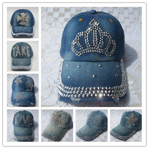 2015 New fashion sun cap rhinestone denim hats for women summer women baseball cap crystal snapback crystal blue jean caps(China (Mainland))