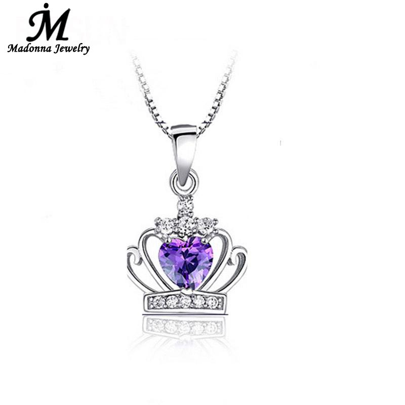 Fashion Women Luxury White purple Crystal Pendant Queen Crown Princess Dream Modern Pendant Silver Plated Jewelry Jewelry(China (Mainland))