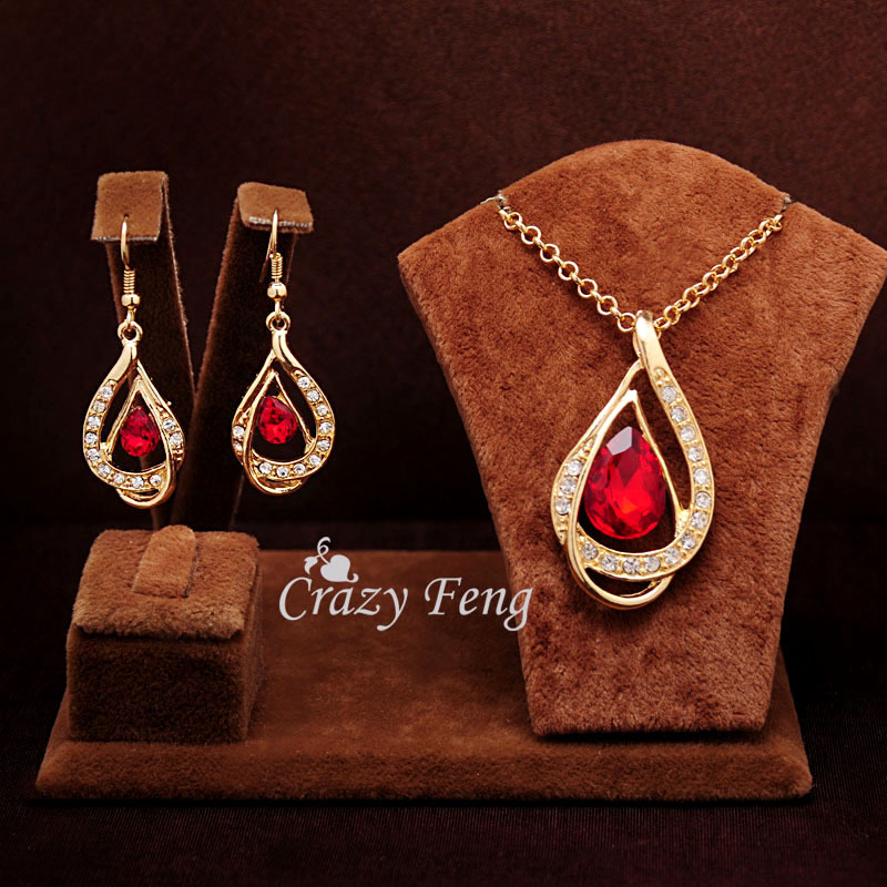 Women New 18k Yellow Gold Filled Ruby/white/Blue Sapphire Austrian Crystal Chain Jewelry Sets Necklace + Earrings Free shipping(China (Mainland))