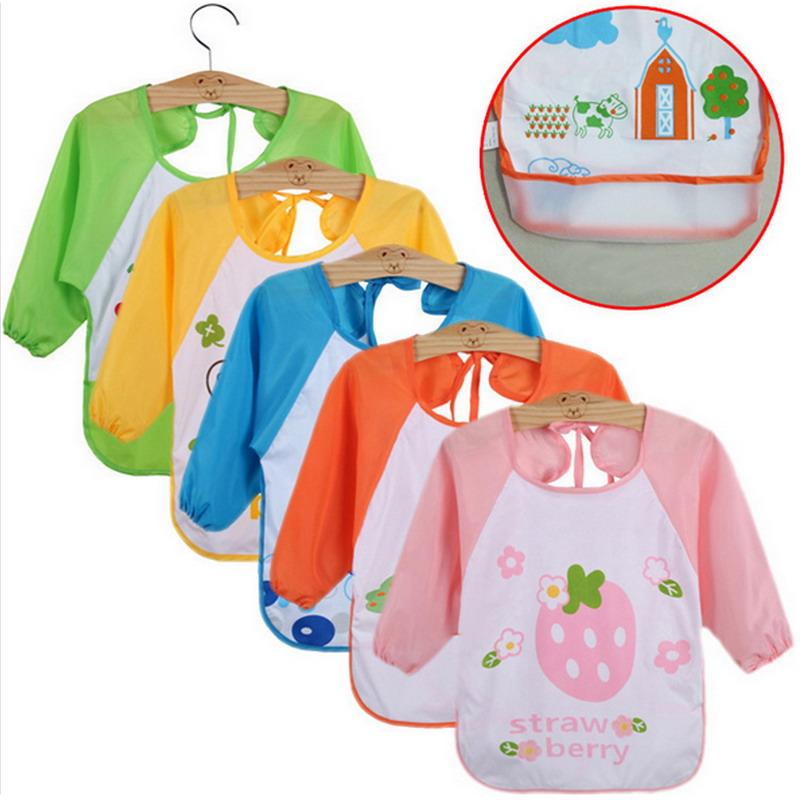 1 PC New Children Baby Todders Waterproof Long Sleeve Art Smock Bibs Apron Cartoon 2016 Boy Girl Feeding clothing Bib VBU03P50(China (Mainland))