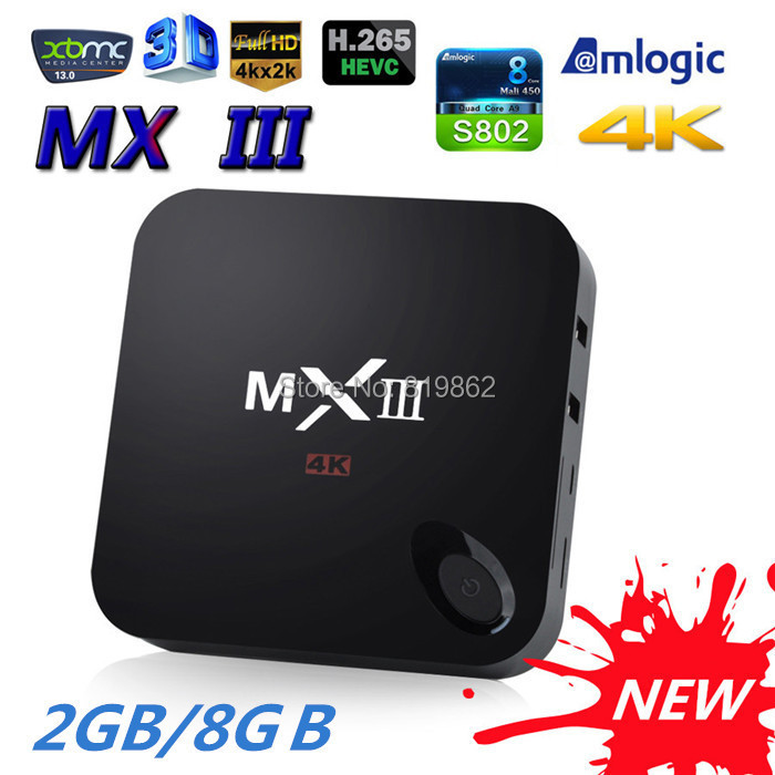 MXIII Android TV Box Amlogic S802 Quad Core 2G/8G XBMC Media Player Mini PC Bluetooth 4K HDMI Set Top Box MX3 Miracast DLNA(China (Mainland))