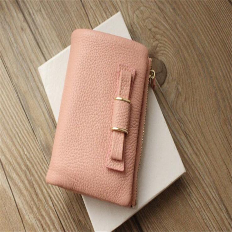 2015 Fashion genuine leather wallets Zip Around Women Wallets Card Holder new Mini Pouch Bags short design bow cowhide wallets<br><br>Aliexpress