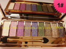 2016 hot sale 6 styles 9 colors glitter makeup eye shadow palette with brush makeup set