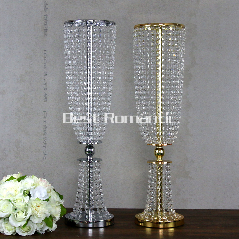 100CM Tall10pcs Flower Design Metal Wedding Centerpiece Stand Crystal