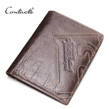Buy CONTACT'S Genuine Leather Men Wallet Thin Design Short Wallet Casual Purse Card Holder Coin Purses Photo Holder Wallets for $13.86 in AliExpress store