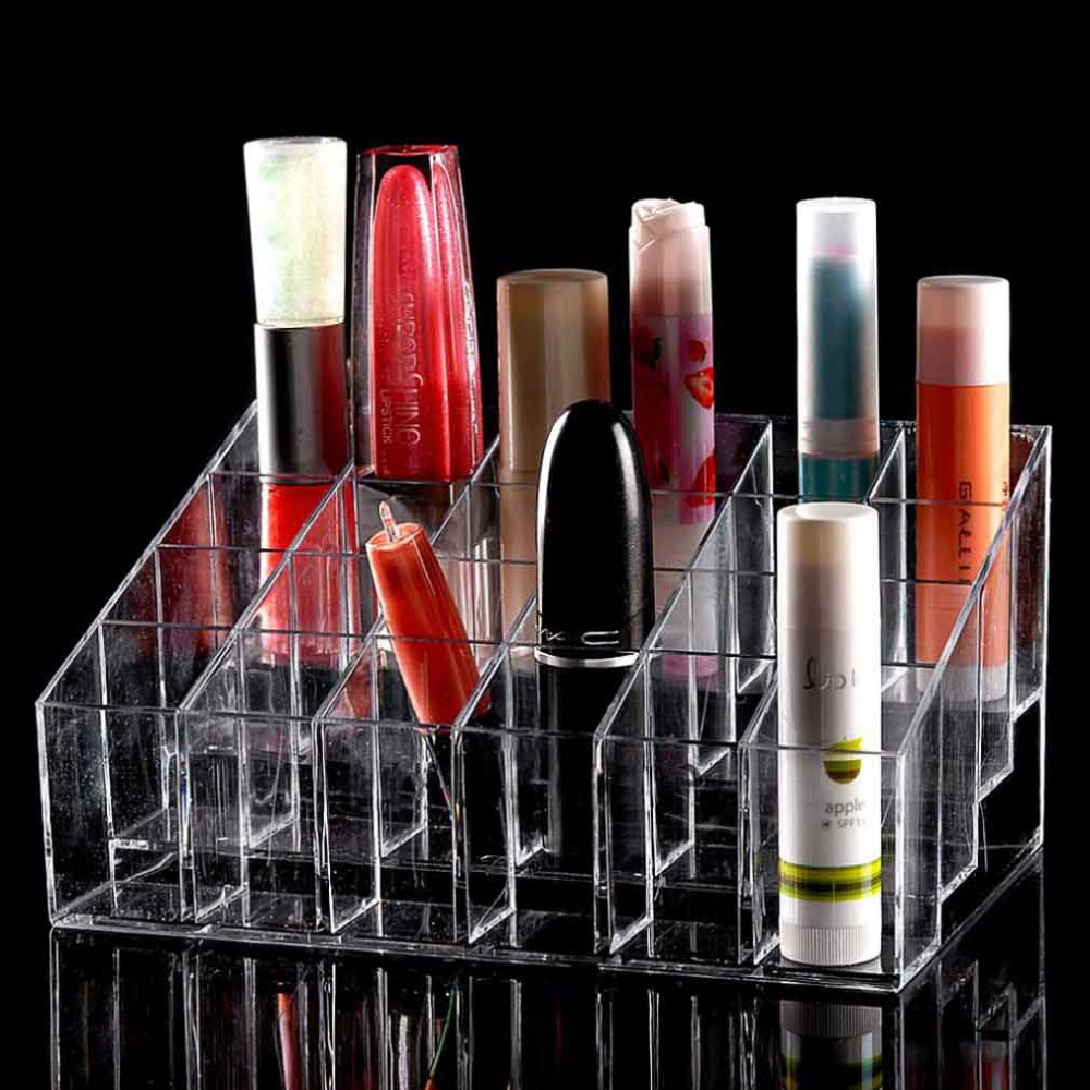 24 Trapezoid Clear Makeup Display Lipstick Stand Case Cosmetic Organizer Case Lipstick Holder Display Stand Clear Acrylic New(China (Mainland))