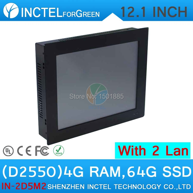 All in one desktop computer 12 inch with 5 wire Gtouch dual nics Intel D2550 2mm ultra thin panel 4G RAM 64G SSD(China (Mainland))