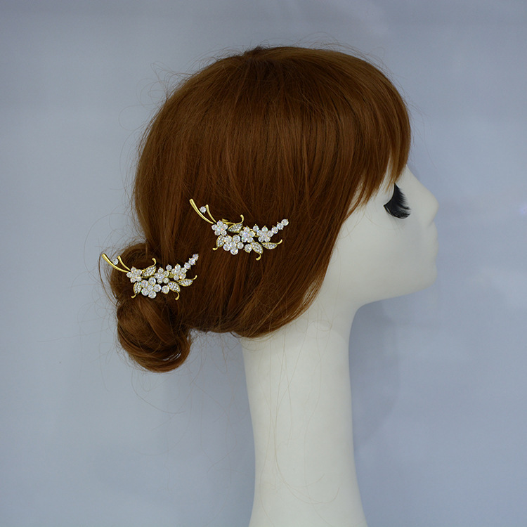 Rhinestone Wedding Prom Hair Clip Two Piece Gold Bridal Hairpins Crystal Accessories(China (Mainland))