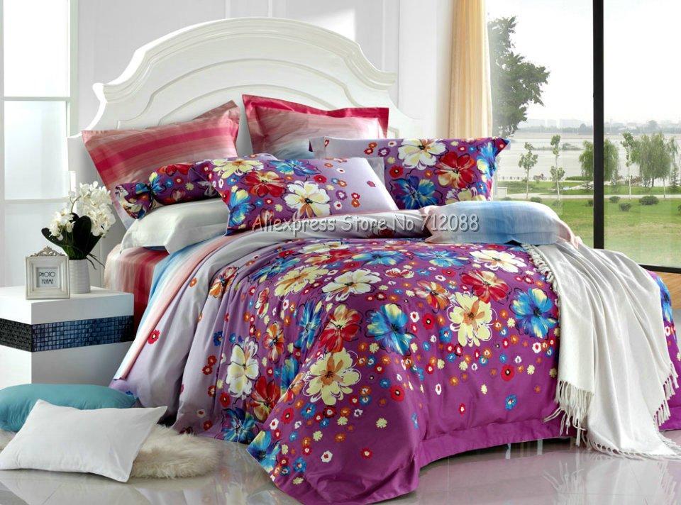 Cotton 4pcs full queen comforter bedding sets bedlinen - Yellow and blue bedding queen ...