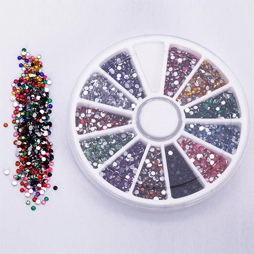 2015 Hot 2.0mm 12 Colors Glitter Tips Rhinestones Gems Flat Gemstones Nail Art Stickers Beauty DIY Decorations Wheel(China (Mainland))