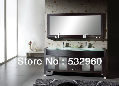 71inch 19mm tempered glass countertop double sink bathroom solid wood vanity in bathroom for Tempered glass bathroom countertop