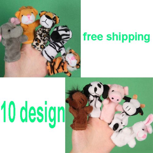 10PCS/LOT,Cartoon finger puppets,Animal puppet,New baby toy,Kids party favor,Early educational toys for kids,8cm,10 design(China (Mainland))