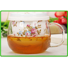 wholesale cup Flower tea cup glass ceramic piece set with lid cup glass mug grace tea ware