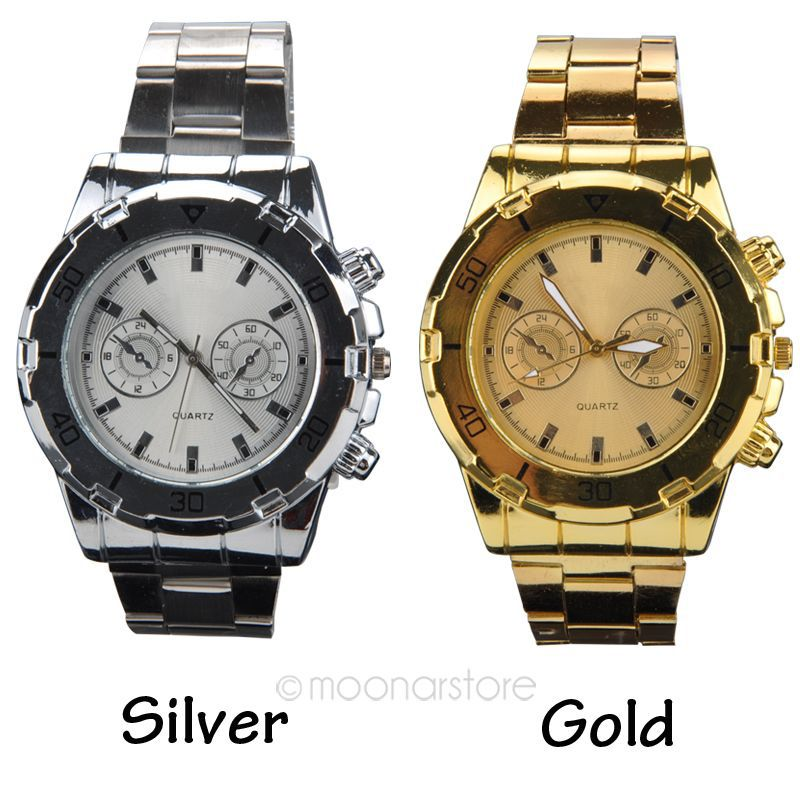 New Design Stainless Steel Male Watch Golden Silver Alloy Quartz Wrist Watch Two Decorative Sub-Dials(China (Mainland))