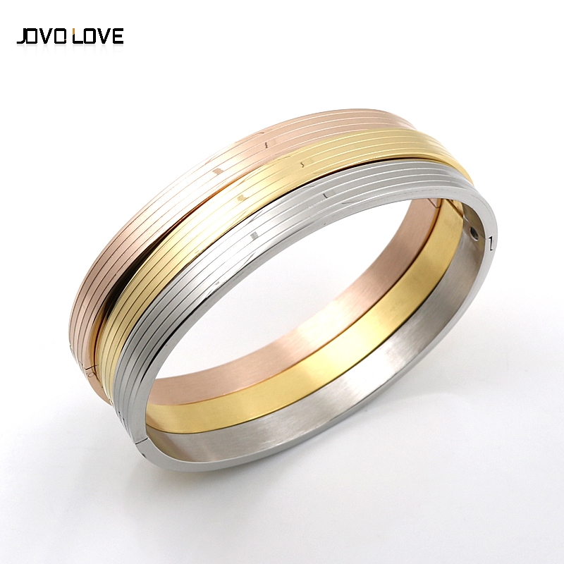 Pulseiras Brazaletes Pulseras Mujer 6mm Sterling Silverplated Jewelry 3 Colors Stripe Bangles Unisex Bracelets Cuff Rose Plated(China (Mainland))