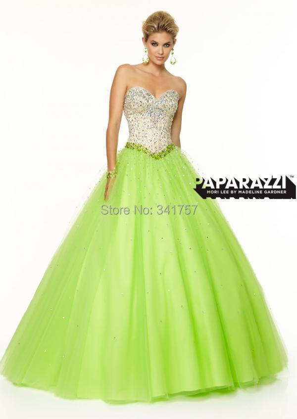 Mint Evening Dresses Stuuning Beaded 2015 Vestidos Para Festa Ball Gown Sweetheart Formal Dress Lacing Back Organza EL915 - Full Romantic Wedding store