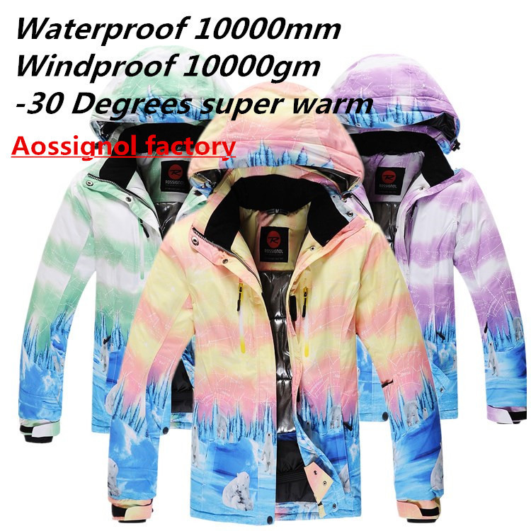 Hot!Polar bear ski suit women snowboard jackets winter outdoor sport clothes waterproop&windproof thermal -30 degree out garment(China (Mainland))