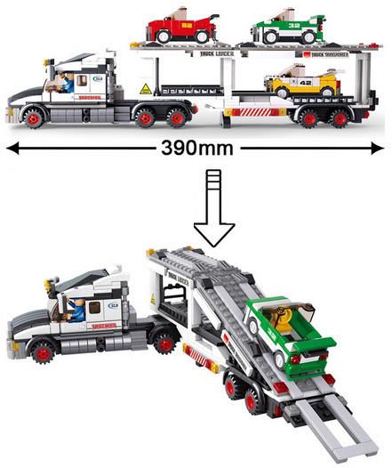 Model Building Blocks Retail Sluban Trailer Track Transport Vehicle Plastic Children Bricks Toys Compatible Lego box - TOYTime Co., Ltd. store