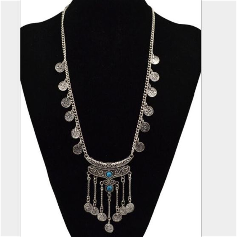 Tassel Exaggerated Long Silver Plated Coin Necklace Women Turkish Indian Ethnic nice Necklaces & pendant for women collares(China (Mainland))
