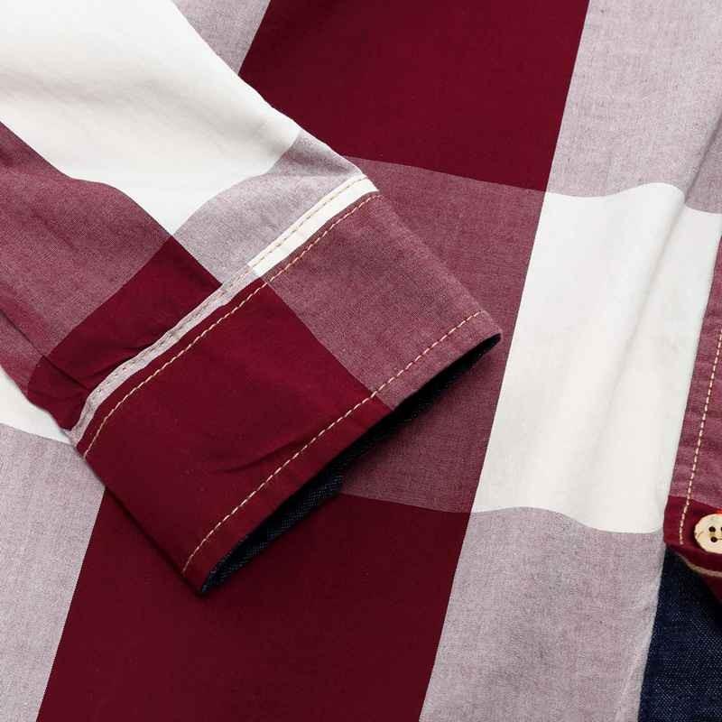 US Size Big Plaid Shirt Men\`s Long-Sleeved Shirt 100% Cotton Casual Brand Chemise Homme Fashion Business Shirts Plus Size M099 (7)