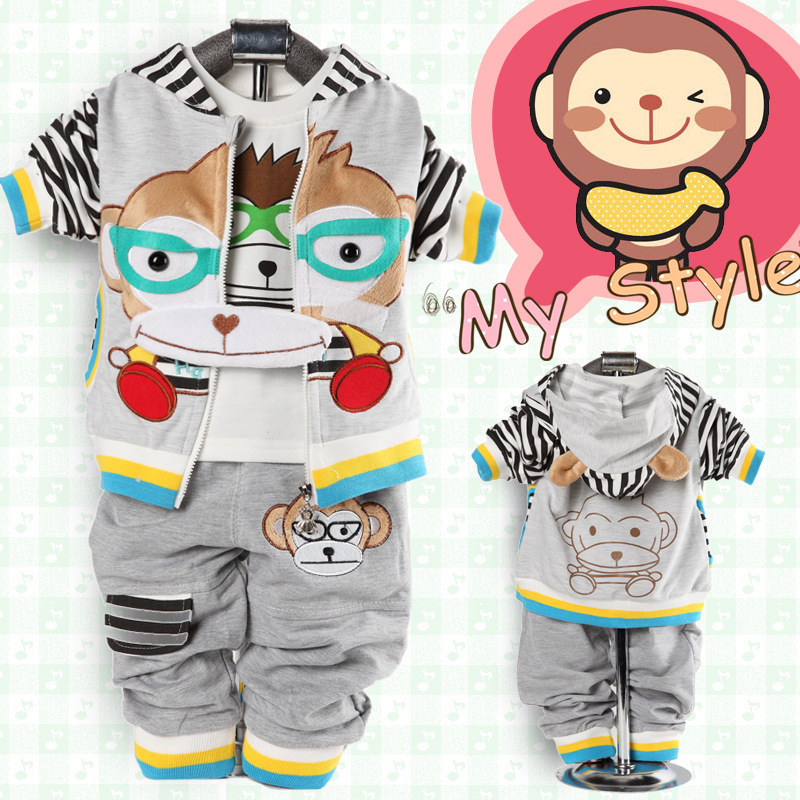 newborn boys animal monkey 3 pieces casual suits hooded coat cartoon t shirt pants baby child clothing set red yellow grey<br><br>Aliexpress