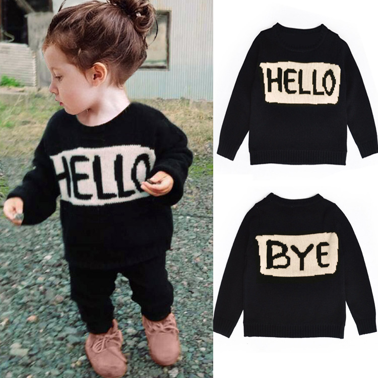 2016 Spring European Children Clothes Brands Black Solid O-neck Infant Pullover Sweaters For Baby Girls Boys With Letter Print(China (Mainland))