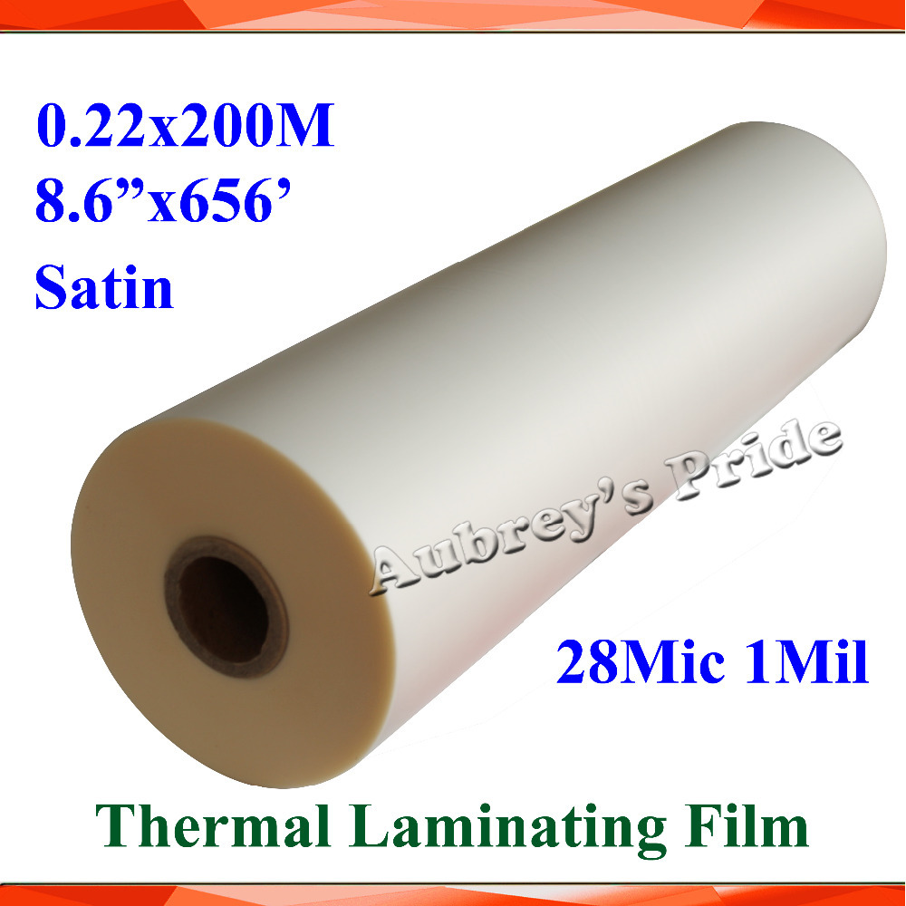 "1 Rolls 28Mic 220mmx200M (8.6""X656') 1Mil Satin Matt 1"" Core Hot Laminating Films Bopp for Hot Roll Laminator(China (Mainland))"