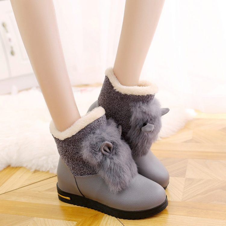 Girl Fashion Rabbit Ears Winter Snow Boots Women New Round Toe Outdoor Ankle Shoes Lady Height Increasing Anti Slip Cotton Boots(China (Mainland))