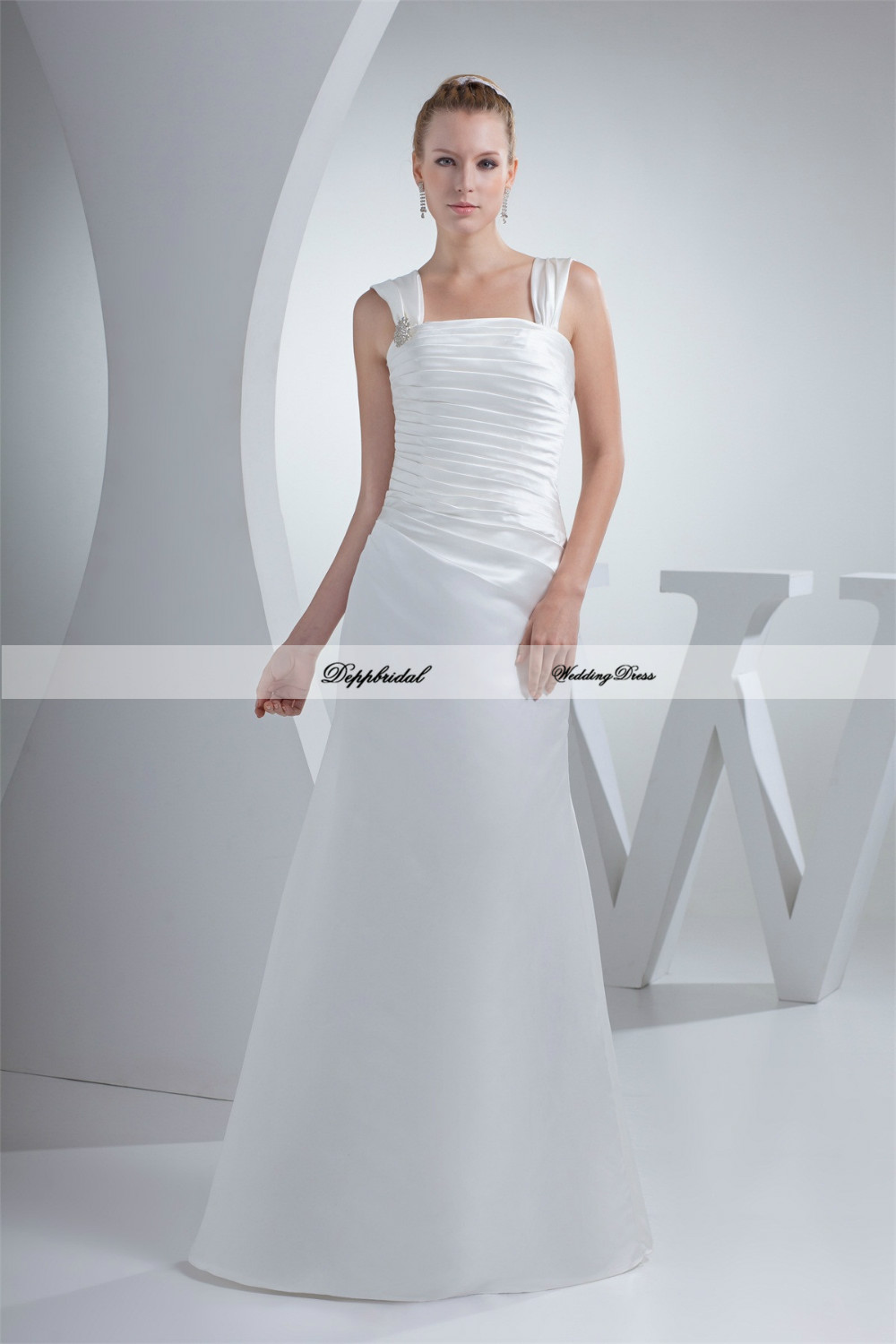 buy wholesale wedding dress two shoulder sheath floor