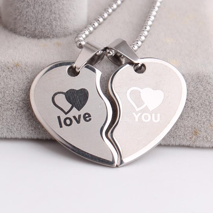 Lovers wave Double hearts LOVE YOU 316L Stainless Steel pendant necklaces for men women wholesale Free shippingTING jewelry(China (Mainland))