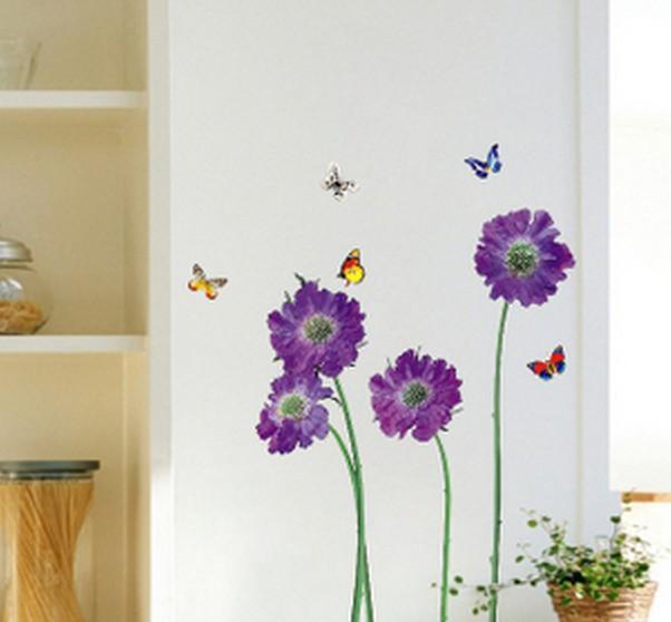 3D Purple flower butterfly stickers for wall decoration stickers for kids chart kids wall sticker for wall decoration Home Decor(China (Mainland))
