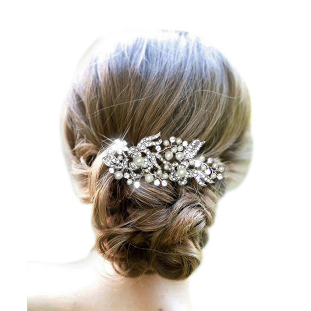 Wedding Bride Hairstyle Comb Flower And Leaves Style Rhinestone Inlaid Hair Comb Hair Decoration Wedding Bride Hair Pin(China (Mainland))