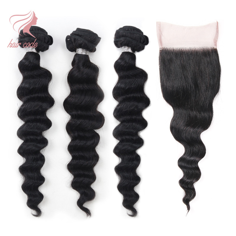 New Indian Virgin Hair With Closure 3 Bundles With Closure Loose Wave With Closure Grade 7A Unprocessed Virgin Hair With Closure