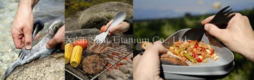Buy Pure Titanium One-piece Multifuntion Tableware Spoon / Scoop / Fork / Knife for Outdoor Camping 22g/pc cheap
