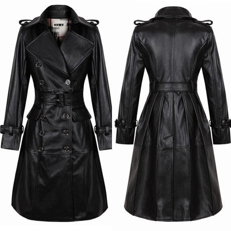 Free shipping fashioh 2013 new arrival winter military style double breasted black pu leather trench coat long jackets for women