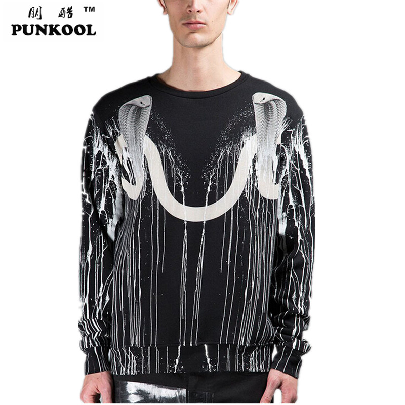 PUNKOOL 2016 Fashion Brand Cobra Print Hiphop Hoodie Men Cotton High Quality Oversized Hoodies Sweatshirts Mens Street Clothing